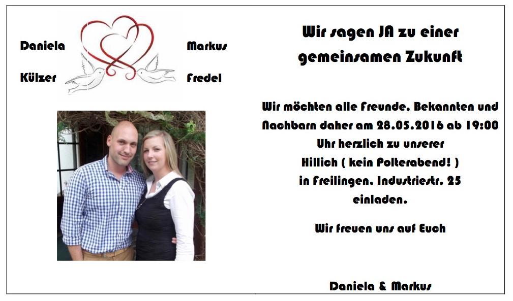 """info: einladung zur """"hillich"""" bei daniela und markus am 28. mai, Einladung"""